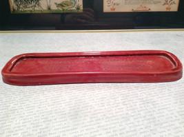 Red Flat Ceramic Handmade Decorative Tray Designed for Window Sills image 2