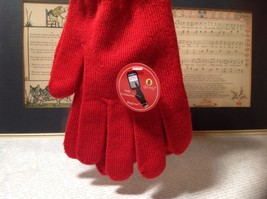 Red Glovely Touch Screen Gloves Hidden Magnets Keep Gloves Together Size Medium image 3