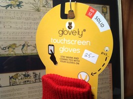 Red Glovely Touch Screen Gloves Hidden Magnets Keep Gloves Together Size Medium image 4