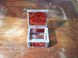 Red Embossed Glass Ring Box with Mirrored Bottom Paisley Designed Glass Handmade image 6