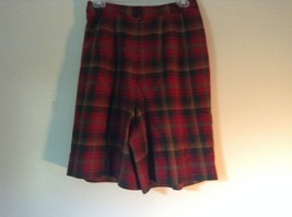 Red Green Brown Plaid 100 Percent Virgin Wool Pendleton Skirt Size 8 image 4