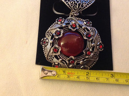 Red Crystals with Big Dark Red Stone Silver Tone Circular Shaped Scarf Pendant image 3
