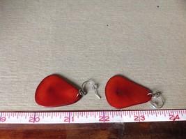 Red Flat Dangling Handmade Dyed Tagua Earrings image 4