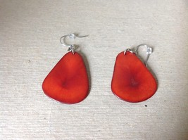 Red Flat Dangling Handmade Dyed Tagua Earrings image 3