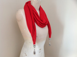 Red Metal Decorated as Tassels Fashion Scarf See Measurements Below image 2