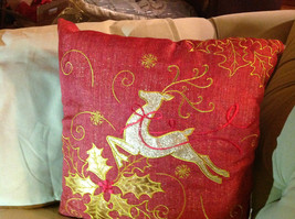Red Holiday Decorative Sparkly Square Pillow w Reindeer Gold Colored Holly image 2