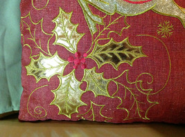 Red Holiday Decorative Sparkly Square Pillow w Reindeer Gold Colored Holly image 4
