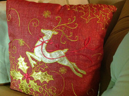 Red Holiday Decorative Sparkly Square Pillow w Reindeer Gold Colored Holly image 7