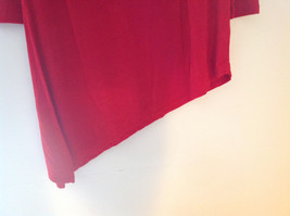 Red Long Sleeve Asymmetrical Bottom Shirt Stretchy Material Sizes S L XL and 2X image 3