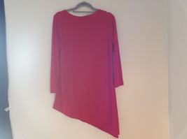 Red Long Sleeve Asymmetrical Bottom Shirt Stretchy Material Sizes S L XL and 2X image 4