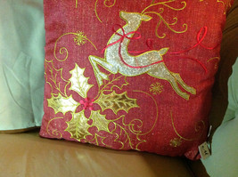 Red Holiday Decorative Sparkly Square Pillow w Reindeer Gold Colored Holly image 3