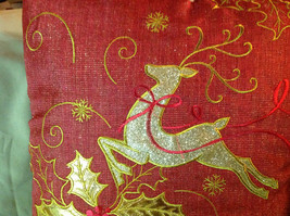 Red Holiday Decorative Sparkly Square Pillow w Reindeer Gold Colored Holly image 5