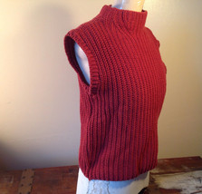 Red Knitted Sleeveless Turtleneck Stretch Sweater Brand 262-1/2 Size Medium image 3