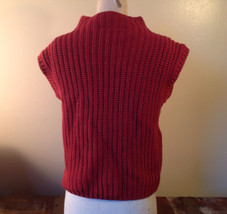 Red Knitted Sleeveless Turtleneck Stretch Sweater Brand 262-1/2 Size Medium image 4