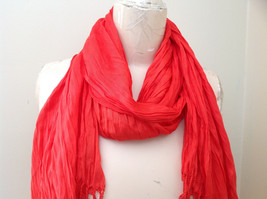 Red Scrunched Style Tasseled Scarf LOOK 65 by  24 Inches Width silk cotton blend image 2
