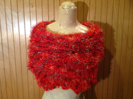 Red Rainbow Color Specks Fuzzy Circle Scarf Can Be Worn Multiple Ways NO TAGS image 5