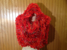 Red Rainbow Color Specks Fuzzy Circle Scarf Can Be Worn Multiple Ways NO TAGS image 3