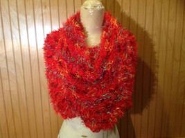 Red Rainbow Color Specks Fuzzy Circle Scarf Can Be Worn Multiple Ways NO TAGS image 6