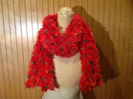 Red Rainbow Color Specks Fuzzy Circle Scarf Can Be Worn Multiple Ways NO TAGS image 8