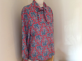 Red Navy Paisley Button up Tie at Neck Long Sleeve Shirt Alfred Dunner Size 12 image 2