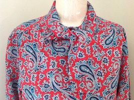 Red Navy Paisley Button up Tie at Neck Long Sleeve Shirt Alfred Dunner Size 12 image 3
