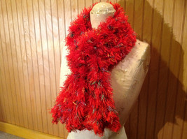 Red Rainbow Color Specks Fuzzy Circle Scarf Can Be Worn Multiple Ways NO TAGS image 2