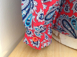 Red Navy Paisley Button up Tie at Neck Long Sleeve Shirt Alfred Dunner Size 12 image 6