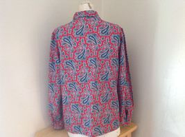 Red Navy Paisley Button up Tie at Neck Long Sleeve Shirt Alfred Dunner Size 12 image 7