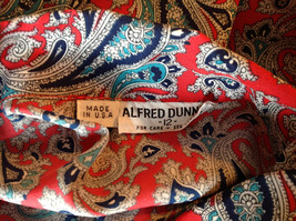 Red Navy Paisley Button up Tie at Neck Long Sleeve Shirt Alfred Dunner Size 12 image 8