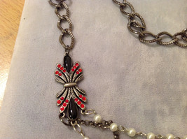 Red Silver Black colored Bead and Metal necklace strand with crystal stones image 3