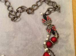 Red Silver Black colored Bead and Metal necklace strand with crystal stones image 5