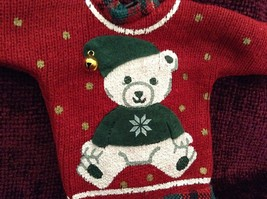 Red Poseable Ugly Sweater Ornament White Bear with Green Clothes Bell on Hat image 2