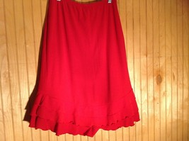 Red Skirt with Elastic Waist Ruffles at Bottom by Wet Seal Measurements Below image 3