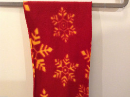 Red and Yellow Snowflakes Winter Fleece Scarf with fringed edges 100% polyester image 4