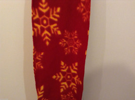 Red and Yellow Snowflakes Winter Fleece Scarf with fringed edges 100% polyester image 5