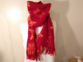 Red and Yellow Snowflakes Winter Fleece Scarf with fringed edges 100% polyester image 2