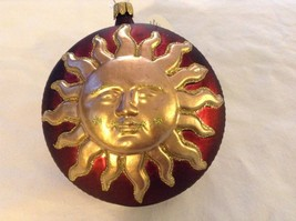 Red and gold glitter Shining Sun  Glass Ornament Old German Christmas image 3