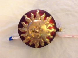 Red and gold glitter Shining Sun  Glass Ornament Old German Christmas image 8