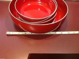 Red enameled wood salad serving set made in Japan vintage image 2