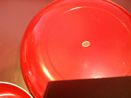Red enameled wood salad serving set made in Japan vintage image 4