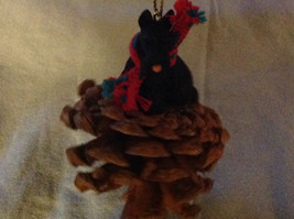 Red Pine Cone Scotty Dog or Black Schnauzer Real Fabric for Scarf on Neck image 2