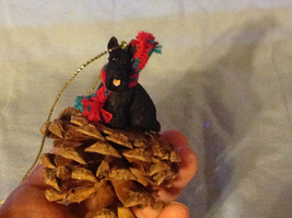 Red Pine Cone Scotty Dog or Black Schnauzer Real Fabric for Scarf on Neck image 7