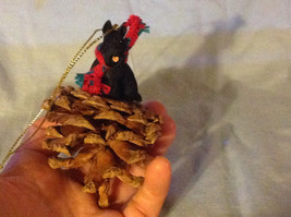 Red Pine Cone Scotty Dog or Black Schnauzer Real Fabric for Scarf on Neck image 8