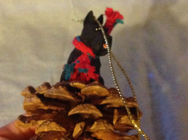 Red Pine Cone Scotty Dog or Black Schnauzer Real Fabric for Scarf on Neck image 4