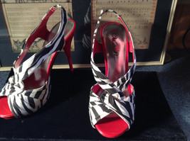 Red and Zebra High Heels Size 7 Wild Rose All Man Made Material image 3