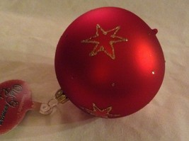 Red round Glass Ornament Old German Christmas w stars glitter gloss and matte image 3