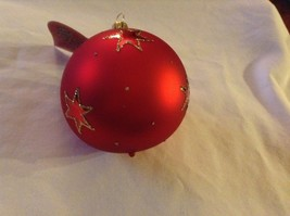 Red round Glass Ornament Old German Christmas w stars glitter gloss and matte image 5