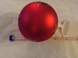 Red round Glass Ornament Old German Christmas w stars glitter gloss and matte image 8
