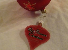 Red round Glass Ornament Old German Christmas w stars glitter gloss and matte image 6