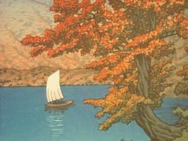 Reproduction Color Woodblock Print 1930 Lake Chuzenji Nikko in Autumn image 2